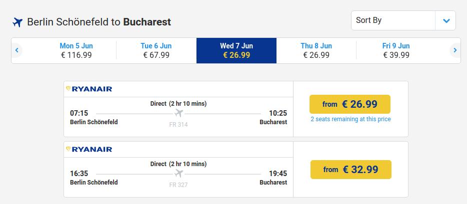 Berlin - Bucuresti - 7 iunie - 27 euro